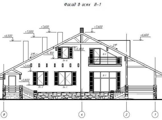 Фасад в осях 8-1